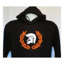 Sweat capuche Trojan lauriers Noir orange blanc