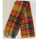 Mustard tartan scarf with orange + black+ white