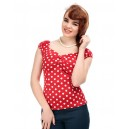 "Top pin up Collectif ""Dolores"" gypsy Rouge pois blancs. rockabilly, retro,vintage"