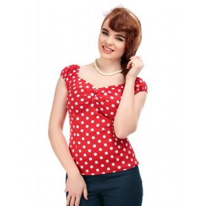"""Top pin up Collectif """"Dolores"""" gypsy Rouge pois blancs. rockabilly, retro,vintage"""