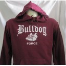 Sweat capuche Bulldog force bordeaux/blanc